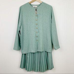 Vintage Florentine Skirt Suit 8 Pleated Midi Green